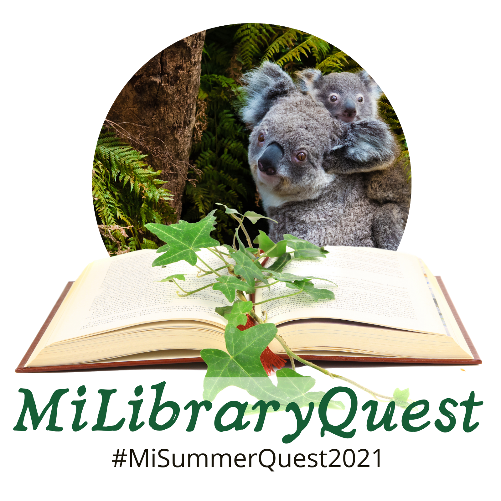 MiLibaryQuest logo with koalas, open book, and the text #MiLibraryQuest2021